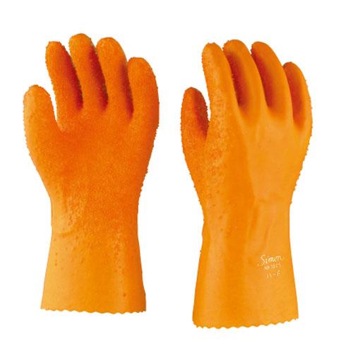 作業用手袋 シモン 一般作業用手袋 ポリ塩化ビニール 綿100% 特殊スベリ止め付 シモンロゴ入り 硬くなりにくい 耐酸性 耐アルカリ性 耐候性 耐滑 12双入り ケミグローブ1005ハード