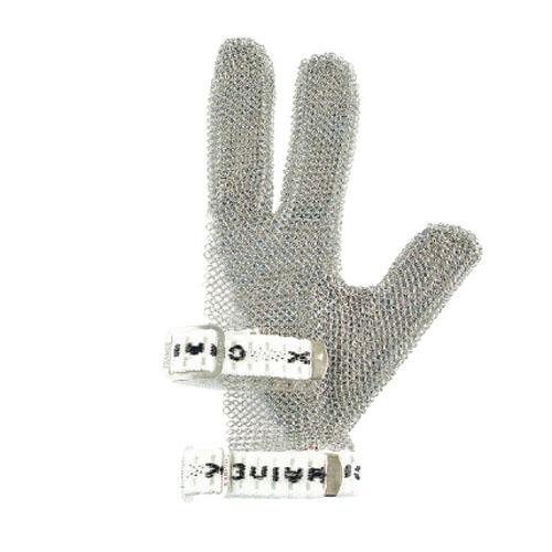 作業用手袋 シモン 切創防止用手袋 金属メッシュ製 金属メッシュ製 スナップベルト付 食肉加工工場、食堂、皮革等のナイフを使った作業に適している 1枚入り くさり手袋3指右