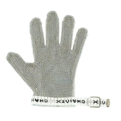 作業用手袋 シモン 切創防止用手袋 金属メッシュ製 スナップベルト付 食肉加工工場、食堂、皮革等のナイフを使った作業に適している 1枚入り くさり手袋5指右左併用(リバーシブル)