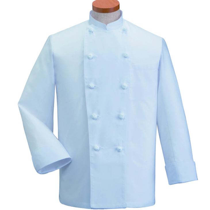薄手素材の外パッチポケット付き半袖コックコート
