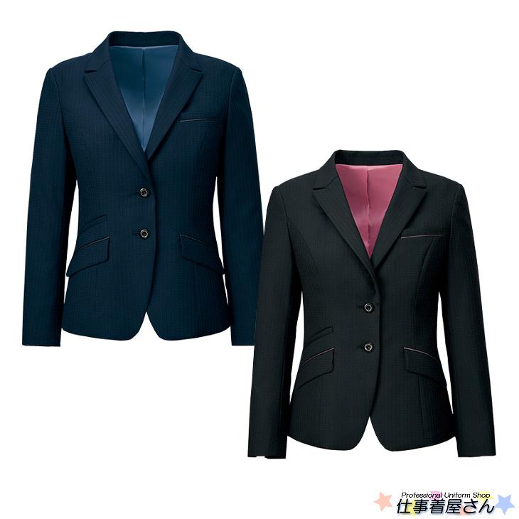 送料無料!!きりっとしたセミピークドカラーで、ポケットの配置がアクセントのジャケット【19号~23号】【企業制服・事務服】としてお勧め AR4882アルファピア 大きいサイズ