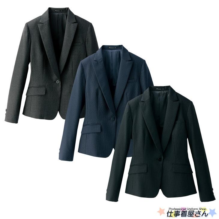 上質なウールを使ったレディスストレッチジャケット(ストライプ)【サービス】【FACE MIX】【企業作業服・作業着】としてお勧め