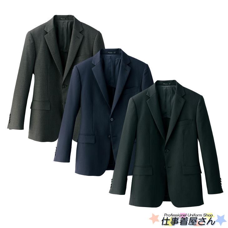 上質なウールを使ったメンズスリムストレッチジャケット(ストライプ)【サービス】【FACE MIX】【企業作業服・作業着】としてお勧め