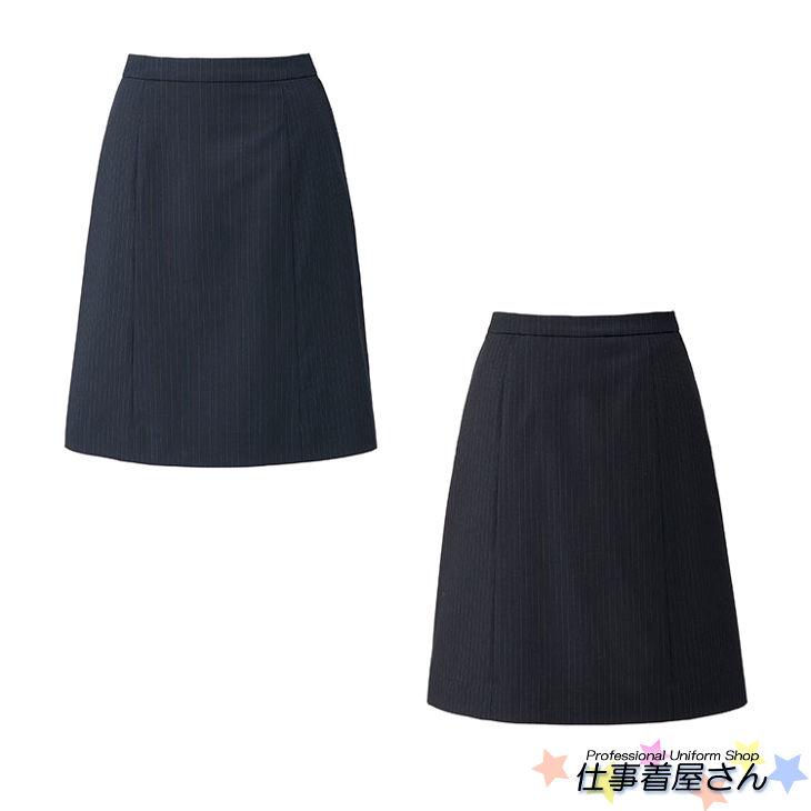 ストライプのシャープさをより際立たせるデザインのAラインスカート(ソロテックスストライプ)【BONMAX】【企業オフィス制服・事務服】【BONOFFICE】【大きいサイズ】【17号~19号】ls2198