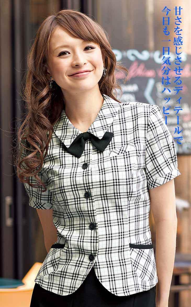 パフスリーブ、ラウンドした前裾がキュートなオーバーブラウス 【企業制服・事務服】お勧め