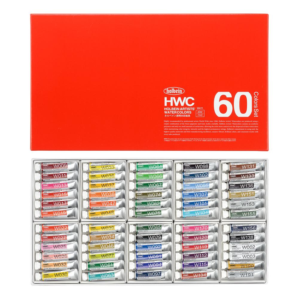 【ホルベイン】HWC 透明水彩60色セット 2号(5ml)チューブ W411 HOLBEIN 【ボタニカル】【watercolors】【大人の水彩絵具】