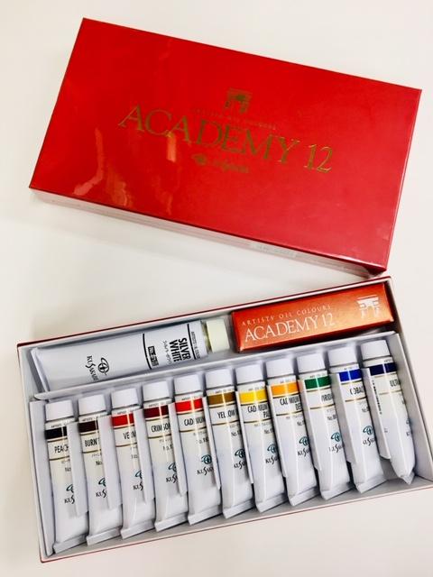 高級絵具セット【クサカベ】専門家用油絵具12色セット アカデミー12