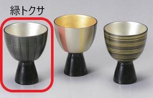 【越前漆器】緑トクサ 高杯(左)