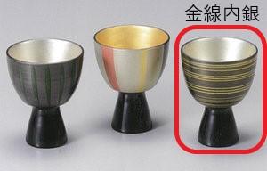 【越前漆器】金線内銀 高杯(右)