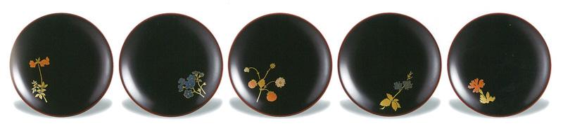 【越前漆器】野の花 銘々皿 5枚セット/漆器・おもてなし・御祝・ご祝儀・ギフト・贈り物・お茶会・御祝返し・御礼・銘々皿