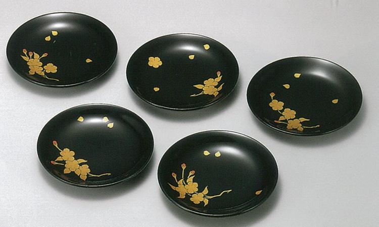 【越前漆器】桜花絵変り 銘々皿 5枚セット /漆器・おもてなし・御祝・ご祝儀・ギフト・贈り物・お茶会・御祝返し・御礼・銘々皿