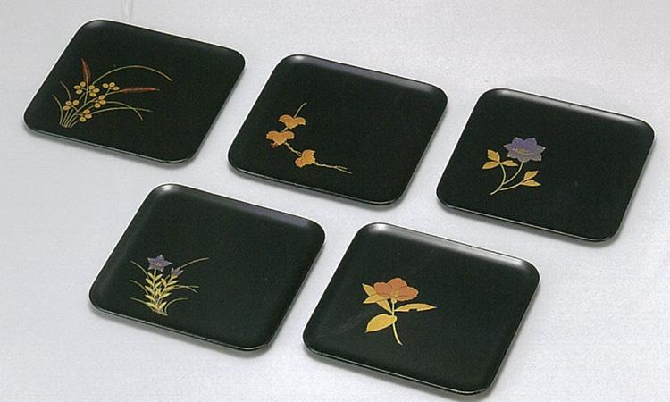 【越前漆器】四季絵変り 銘々皿 5枚セット /漆器・おもてなし・御祝・ご祝儀・ギフト・贈り物・お茶会・御祝返し・御礼・銘々皿