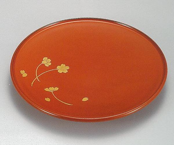 【越前漆器】桜花 朱 甲台皿 5枚セット/漆器・おもてなし・御祝・ご祝儀・ギフト・贈り物・お茶会・御祝返し・御礼・銘々皿