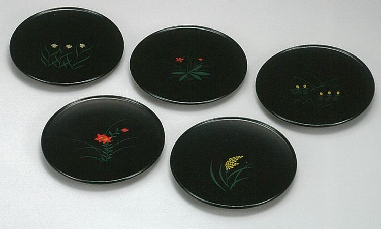 【越前漆器】四季 漆絵甲台皿 5枚セット/漆器・おもてなし・御祝・ご祝儀・ギフト・贈り物・お茶会・御祝返し・御礼・銘々皿