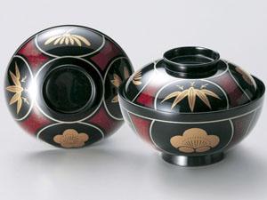 【越前漆器】瓢四君子 吸物椀 黒 5客セット /お吸物・お味噌汁・漆器・蓋付・セット・贈り物・来客用・お正月用品・おもてなし