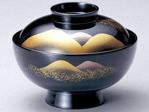 【越前漆器】遠山 吸物椀 黒 5客セット/お吸物・お味噌汁・漆器・蓋付・セット・贈り物・来客用・お正月用品・おもてなし
