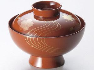【越前漆器】竜田川 吸物椀 古代朱 5客セット /お吸物・お味噌汁・漆器・蓋付・セット・贈り物・来客用・お正月用品・おもてなし