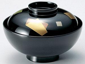 【越前漆器】色紙 吸物椀 黒 5客セット /お吸物・お味噌汁・漆器・蓋付・セット・贈り物・来客用・お正月用品・おもてなし