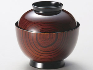 【越前漆器】小吸物椀 木地呂 5客セット/お吸物・お味噌汁・漆器・蓋付・セット・贈り物・来客用・お正月用品・おもてなし