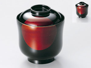【越前漆器】日月白壇 小吸物椀 溜 5客セット/お吸物・お味噌汁・漆器・蓋付・セット・贈り物・来客用・お正月用品・おもてなし
