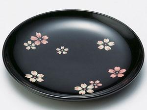 【越前漆器】 桜ちらし銘々皿 黒 5枚セット/漆器・おもてなし・御祝・ご祝儀・ギフト・贈り物・お茶会・御祝返し・御礼・銘々皿