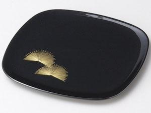 【越前漆器】 寿松沈金 胴張銘々皿 黒 5枚セット/漆器・おもてなし・御祝・ご祝儀・ギフト・贈り物・お茶会・御祝返し・御礼・銘々皿