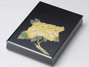 【越前漆器】沈金牡丹 板蓋文庫 A4サイズ 内梨地/文書箱・退職・勇退・手紙入れ・漆・文・箱・BOX・小物入れ・漆器・御祝・贈り物
