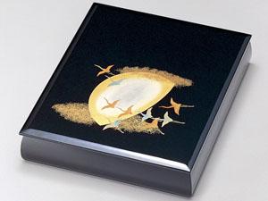 【越前漆器】月に飛鶴 文庫 A4サイズ 黒/文書箱・退職・勇退・手紙入れ・漆・文・箱・BOX・小物入れ・漆器・御祝・贈り物