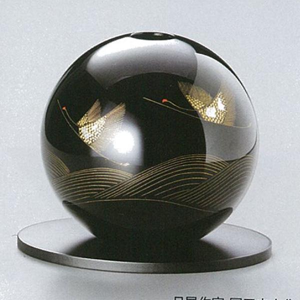 【越前漆器】波に鶴 丸型花器 黒(花台板付)/漆器・おもてなし・花台・花器・花瓶置き・贈り物・御祝・御礼・お返し