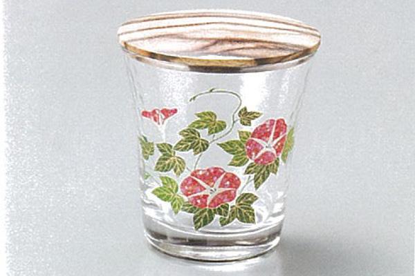 【越前漆器】朝顔 ガラス 棗 黒柿蓋付 /漆器・おもてなし・茶道具・お茶会