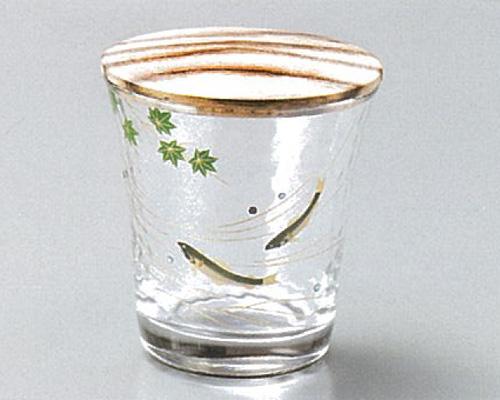 【越前漆器】青楓に鮎 ガラス 棗 黒柿蓋付/漆器・おもてなし・茶道具・お茶会