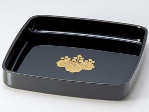【越前漆器】 家紋・名入れ 尺0万寿盆 漆黒 ●ご近所への饅頭配りに