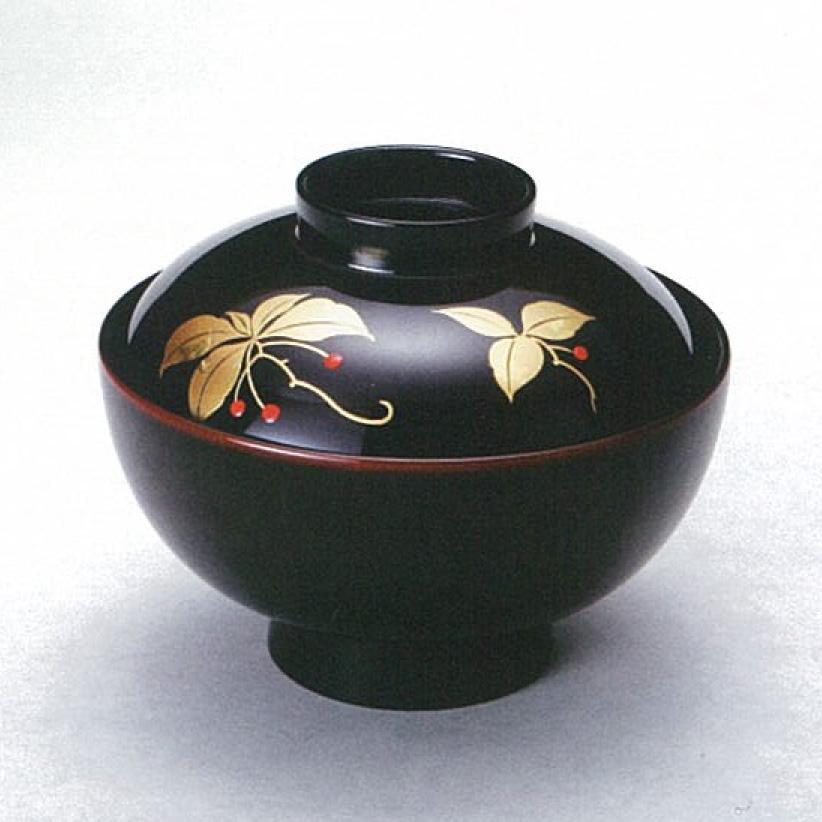 「河和田塗」【越前漆器】 藪柑子 宴仙才 溜 5客/吸い物椀・漆器