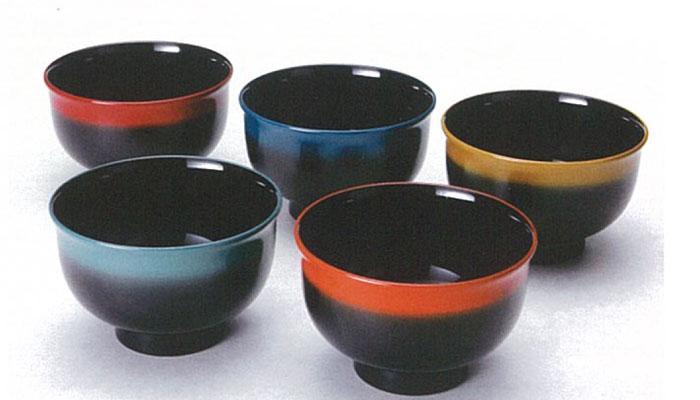 「河和田塗」【越前漆器】五彩椀揃 5客/汁椀・漆器・味噌汁