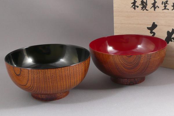 【木製漆器】高級ケヤキ夫婦汁椀 木箱入
