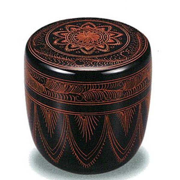 【木製漆器】2.2 中棗 切合口 キンマ彫 桐箱入/漆器・おもてなし・茶道具・お茶会