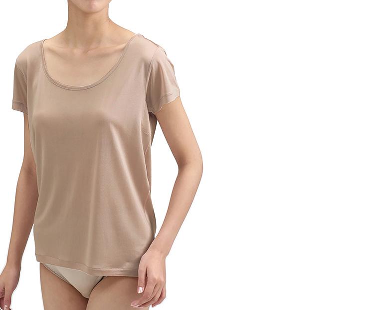 シルク100% 絹 至高 百貨店 シルクニットインナー 伸縮性ありお肌にやさしい 汗取り付き半袖インナーです シルクニットインナー3分袖 カカオベージュ