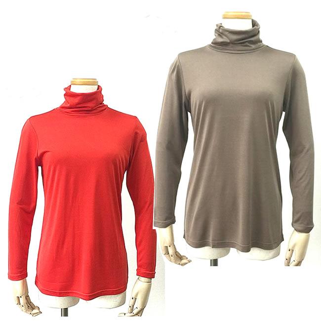 ■【新商品】シルクタートルネック長袖【ネックは折り曲げてたりくしゅっとしたり】2カラー