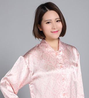 シルクサテンレディースパジャマ・プリント花柄のやさしい色合い【新作登場】ライトピンク