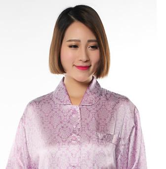 シルクサテンレディースパジャマ・プリント花柄のやさしい色合い【新作登場】ラベンダー