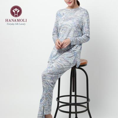 新柄【シルク100%パジャマ】婦人ニットシルク丸首パジャマ【限定商品】612【ブルー】