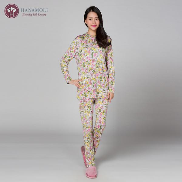 【シルク100%パジャマ】婦人ニットシルク前開きパジャマ【607】