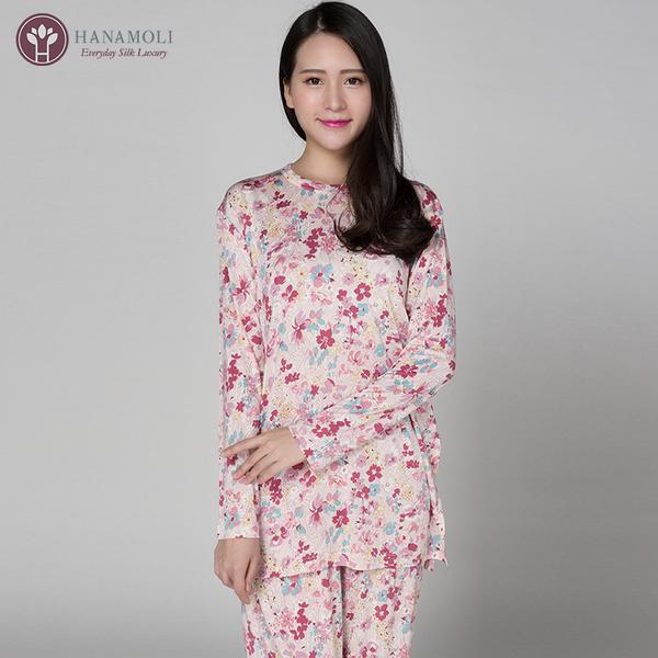 【シルク100%パジャマ】婦人ニットシルク丸首パジャマ【限定商品】606】