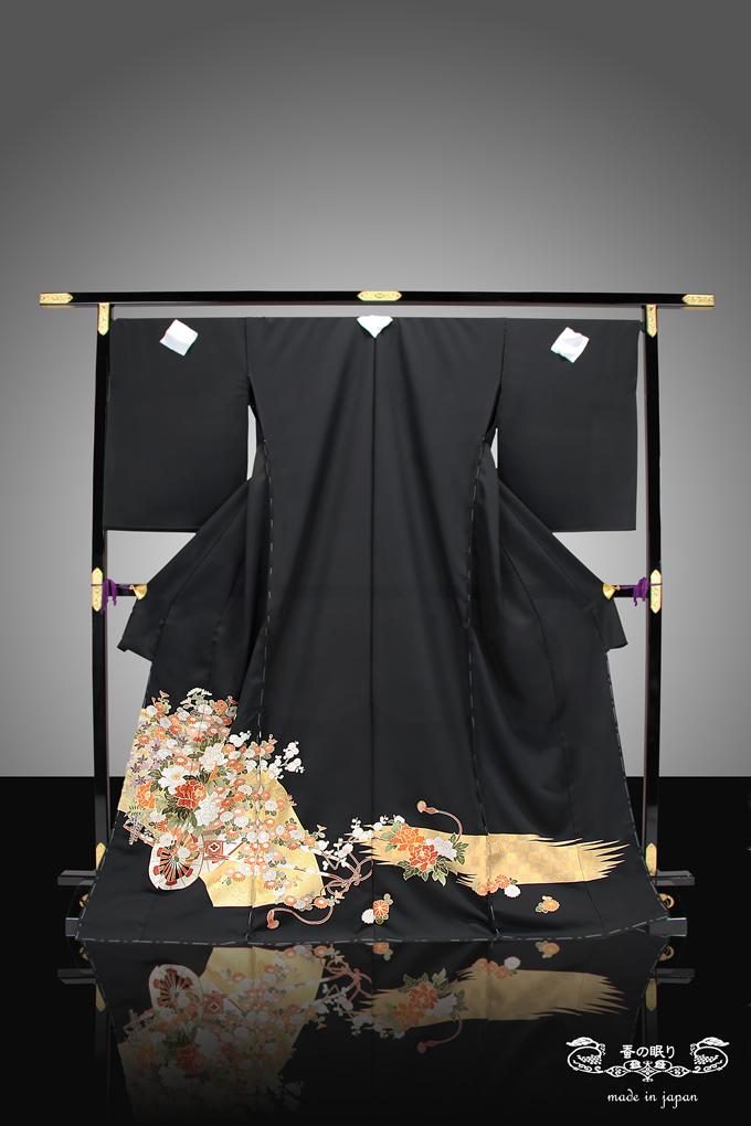 黒留袖 留袖 とめそで | 京都老舗 千切屋 謹製 | 絹 花車