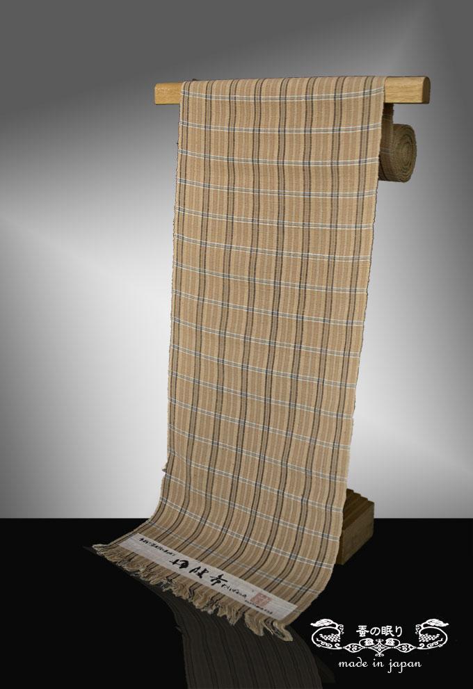 [国指定無形文化財 県伝統的工芸品]手紡ぎ草木染の手織り 円波布 帯
