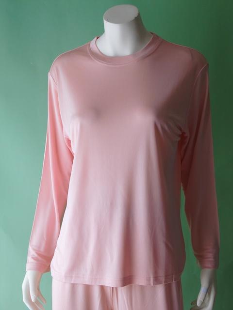 シルクニットパジャマ丸首無地【ピンク】シルクのしっとりさらさら感がたまらない♪