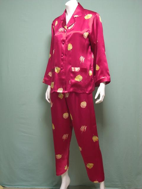 【あす楽】【送料無料】シルクパジャマ長袖【チューリップ柄】シルク100%パジャマS→XXXL サイズも豊富シルクナイトウェア《ブランド嬌奴》67種色柄《ブランド嬌奴》の商品については、製造中止により在庫限りになりました。