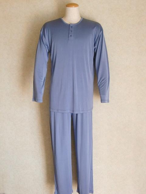 【送料無料】【あす楽】紳士シルクニットパジャマ【スチールブルー】肌に優しくしっとり滑らかすやすや・ぐっすり疲れた体も癒されますよ♪