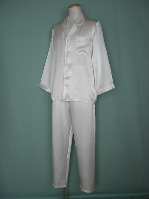 【送料無料】【あす楽対応】シルクパジャマ長袖紳士 【オフホワイト】シルク100%M→XXXL揃え《ブランド嬌奴》紳士用20色柄《ブランド嬌奴》の商品については、製造中止により在庫限りになりました。