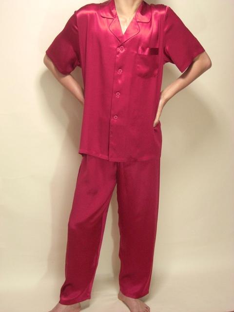 【あす楽】【送料無料】シルクパジャマ半袖紳士【ワインレッド】シルク100%大きいサイズ XXL→XXXL紳士用20色柄《ブランド嬌奴》の商品については、製造中止により在庫限りになりました。